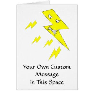 Verärgerter Blitz-Bolzen. Gelb auf Weiß Karte