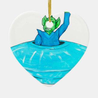 Verärgerter Marsmensch Keramik Herz-Ornament