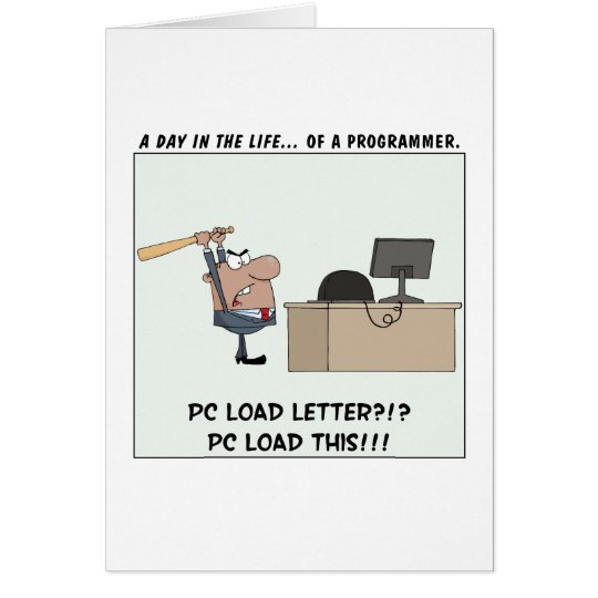Verärgerter Programmierer schlägt Computer Grußkarte