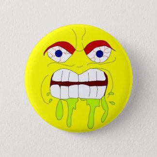 Verärgerter wütender Gesichts-Knopf Runder Button 5,1 Cm