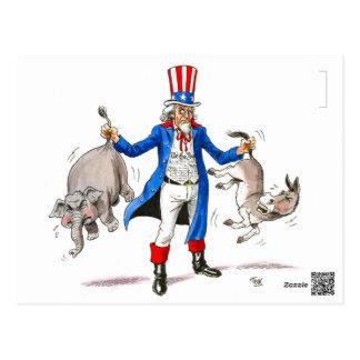 Verbessern Sie Party, das Uncle Sam Sie durch den Postkarte