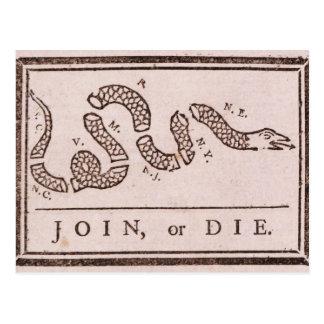 Verbinden Sie oder sterben Sie politischer Cartoon Postkarte