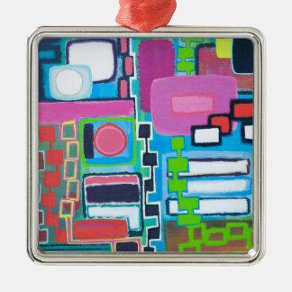 Verbindungs-Verzierung Quadratisches Silberfarbenes Ornament