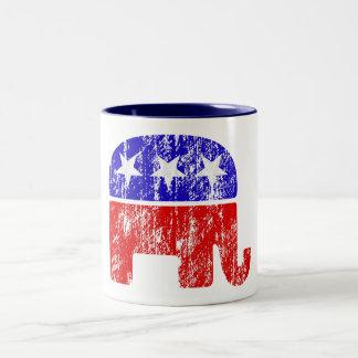 Verblaßter republikanischer Elefant Zweifarbige Tasse