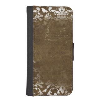 Verblaßtes weißes Vintages Damast-Muster iPhone 5 Portmonnaie