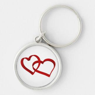 Verbundene Herzen Keychain Silberfarbener Runder Schlüsselanhänger