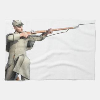 Verbündeter Soldat-Schutz mit dem Gewehr-Knien Handtuch