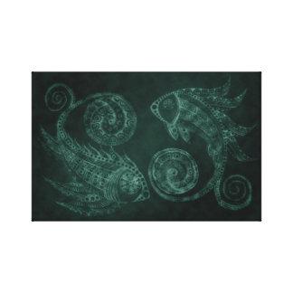 Verdigris-Paisley-Fische Leinwanddruck