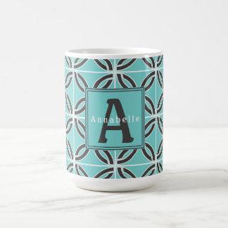 Verdrehte Linien in der Minze und grau, Namens u. Kaffeetasse