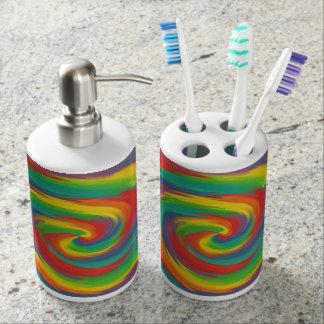 Verdrehter Regenbogen Seifenspender & Zahnbürstenhalter