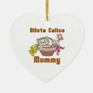 Verdünnte Kaliko-Katzen-Mamma Keramik Herz-Ornament
