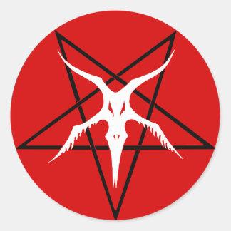 Vereinfachter Baphomet Pentagram - Rot Runder Aufkleber