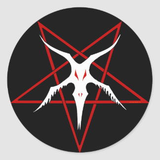 Vereinfachter Baphomet Pentagram - Schwarzes Runder Aufkleber