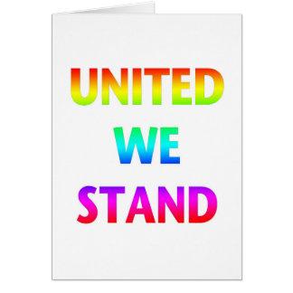Vereinigt stehen wir Regenbogen Grußkarte