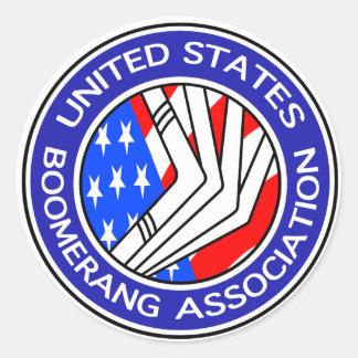 Vereinigte Staaten Boomerang Vereinigung kleines Runder Aufkleber