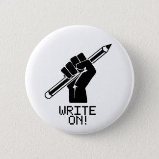 Verfasser schreiben auf Knopf Runder Button 5,7 Cm