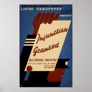 Verfügung bewilligte A1936 die lebende Vintage Poster
