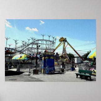 Verger de montagnes russes de parc d'attractions