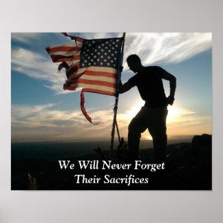 Vergessen Sie nie patriotisches Plakat