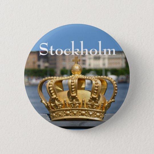 Vergoldete Krone, Skeppsholm Brücke, Stockholm, Runder Button 5,7 Cm
