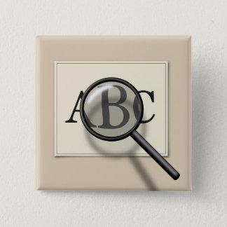 Vergrößern Sie ABC - quadratischen Knopf Quadratischer Button 5,1 Cm