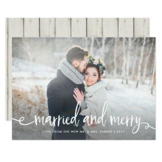 Verheiratetes und fröhliches   modernes rustikales karte