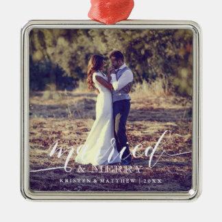Verheiratetes und fröhliches quadratisches silberfarbenes ornament