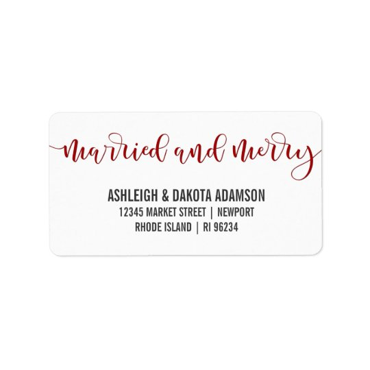 Verheiratetes und fröhliches rotes adressaufkleber