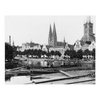 Verkauf des Holzes auf dem Fluss Trave, Lübeck, Postkarte
