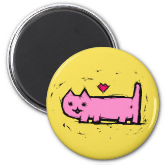 Verkratzte Katze Runder Magnet 5,1 Cm
