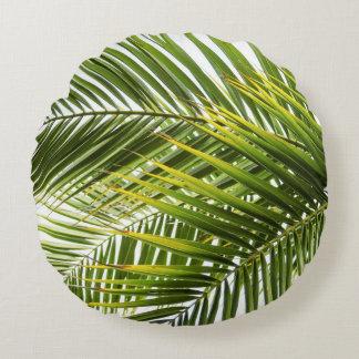 Verlässt tropisches Palme-Foto modern Rundes Kissen
