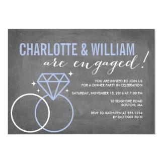 Verlobung der Diamant-Tafel-Verlobungs-| 12,7 X 17,8 Cm Einladungskarte