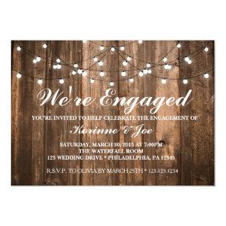 Verlobungs-Einladungs-Holz und Lichter Karte