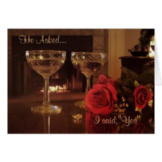 Verlobungs-Party Einladungskartenwein und -Rosen Grußkarte
