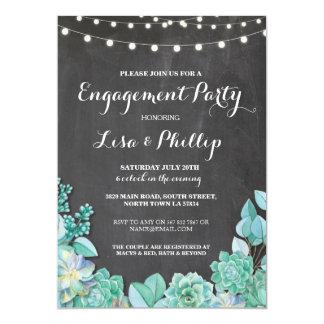 Verlobungs-Party-Kreide-DuscheSucculents laden ein 12,7 X 17,8 Cm Einladungskarte