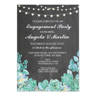 Verlobungs-Party-KreideblumenSucculents laden ein 12,7 X 17,8 Cm Einladungskarte