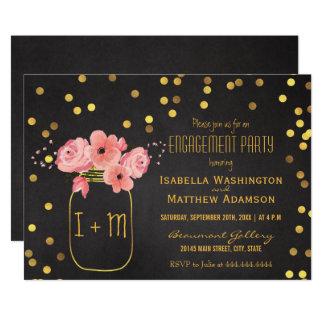 Verlobungs-Party-Maurer-Glasconfetti-Tafel 12,7 X 17,8 Cm Einladungskarte