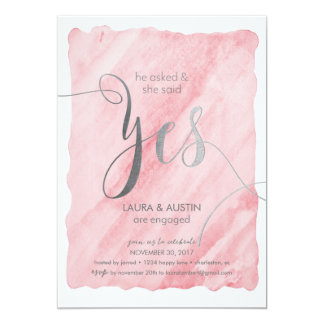 Verlobungs-Party-Mitteilung, die sie ja sagte Karte