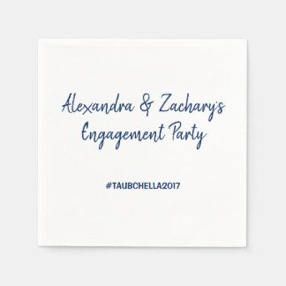 Verlobungs-Party-Servietten mit Hashtag Marine Papierserviette