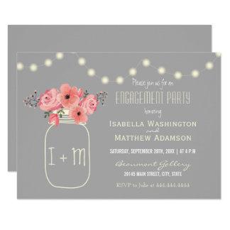 Verlobungs-Party| Watercolor-Blumen u. Maurer-Glas 8,9 X 12,7 Cm Einladungskarte