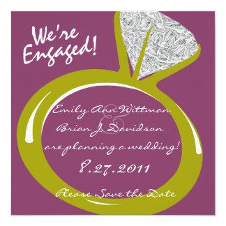 Verlobungs-Ring /Save das Datum Quadratische 13,3 Cm Einladungskarte
