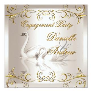 Verlobungs-Schwan-Goldsepia-elegantes Party Quadratische 13,3 Cm Einladungskarte