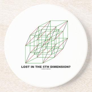 Verloren im fünften Maß? (Geometrie-Würfel-Spaß) Sandstein Untersetzer
