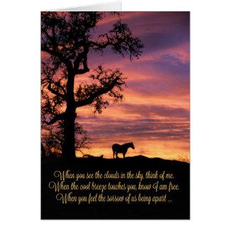 Verlust des Pferds, PferdeBeileids-Karte Grußkarte