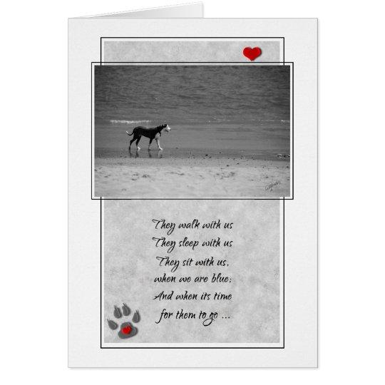 Verlust eines Hundehaustier-Beileids-Strand-Themas Karte