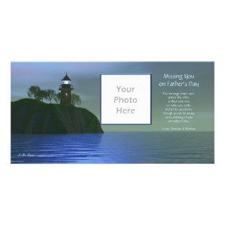 Vermisst Sie am Vatertag - Leuchtturm-Blau Foto Karten Vorlage