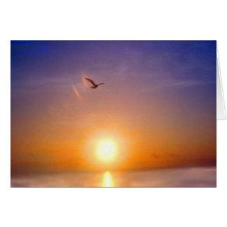 Vermisst Sie Ozean-Sonnenuntergang Mitteilungskarte