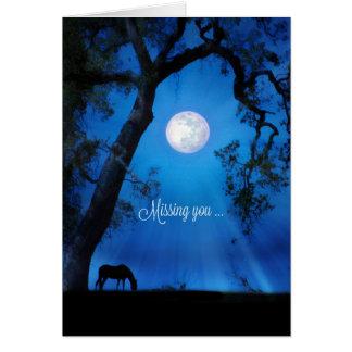 Vermisst Sie Pferd in der Mondschein-Karte Grußkarte