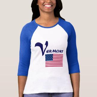 Vermont-Flaggen-Blau T-Shirt