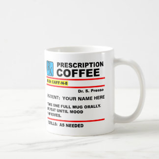 Verordnungs-Kaffee-Koffein Rx lustige Tasse